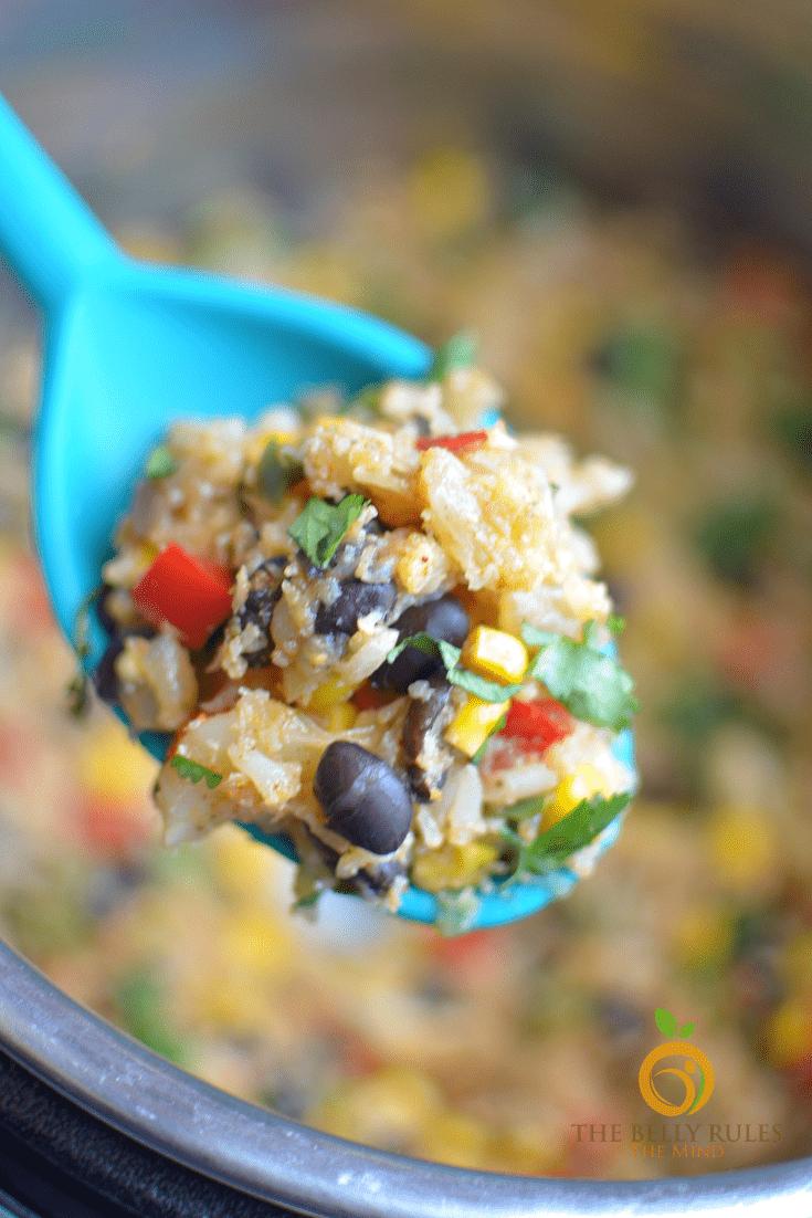 instant pot Mexican cauliflower rice bowl