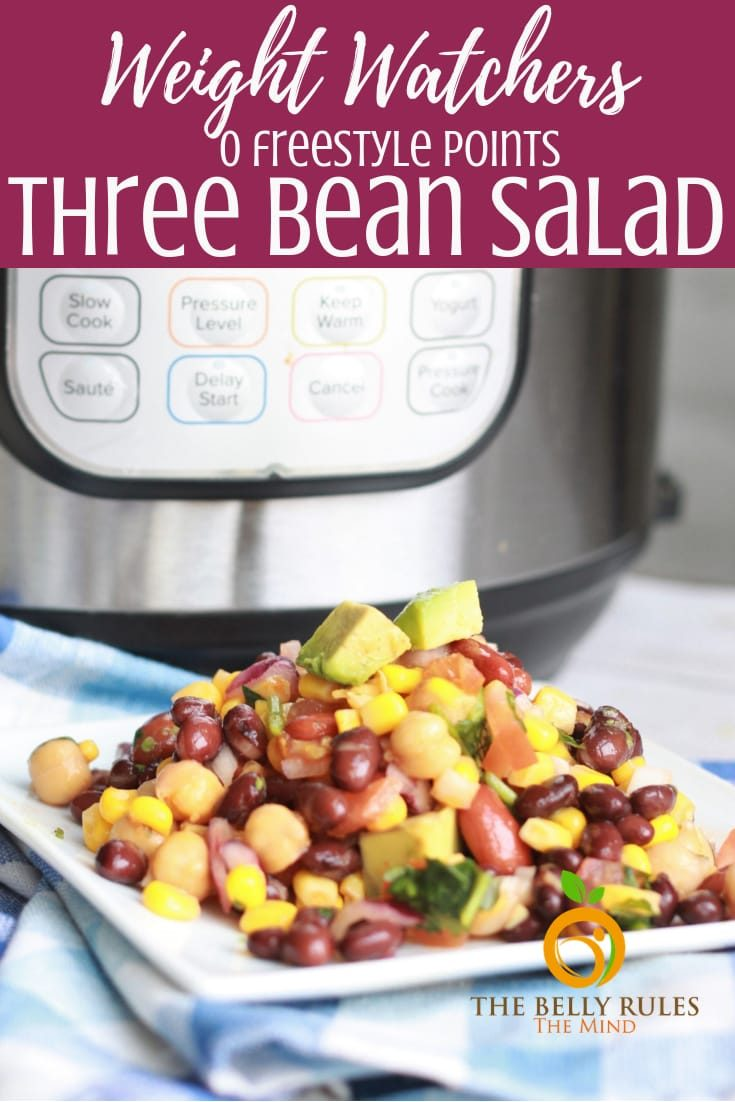 This Instant Pot Mexican Three Bean Salad recipe is quick and easy and loaded with the goodness of protein-rich beans, veggies and packed with flavors. It's perfect for the warmer days when you want to make-ahead something to serve a crowd at a party, picnic or BBQ. Vegan. Gluten-Free. 0 Freestyle Weight Watchers Points. #instantpotrecipe #instantpotbeans #instantpotthreebeansalad #threebeansalad #mexicanthreebeansalad #beansalad #instantpotsalad #instantpotmexicanrecipe #instantpotrecipe #saladrecipe #threebeansaladrecipe #weightwatchersinstantpot