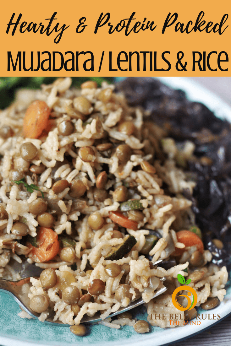 Instant Pot Mujadara Lentils and Rice - a humble, hearty, protein packed side or vegetarian main, made with lentils, rice and veggies. Cooked to perfection - no mushy lentils or rice. Imagine the goodness of grains, legumes and veggies in one bowl, garnish it with caramelized onions and parsley and serve with salad or yogurt. It's super yum!!! Vegan. Gluten-Free. Plant-based. #mujadara #mujadararecipe, #instantpotmujadara, #lentilsandrice, #lentilsandricerecipe, #instantpotlentilsandrecipe, #mujadaralentilsandrice, #instantpotlentils, #veganinstantpot #vegetarianinstantpot
