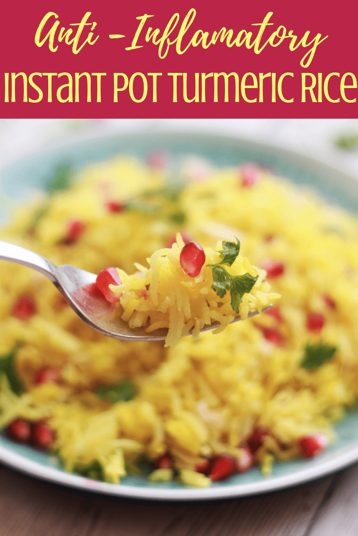 This Instant Pot Yellow Turmeric Rice is full of flavors and makes an elegant side dish for any occasion. Infused with the goodness of Turmeric and Garlic this rice super easy to make in your pressure cooker or Instant Pot. No sticky bottom or mushy rice, each grain is separate. Ready in 6 minutes, this fail proof recipe is a must try. Vegan. Gluten-Free.