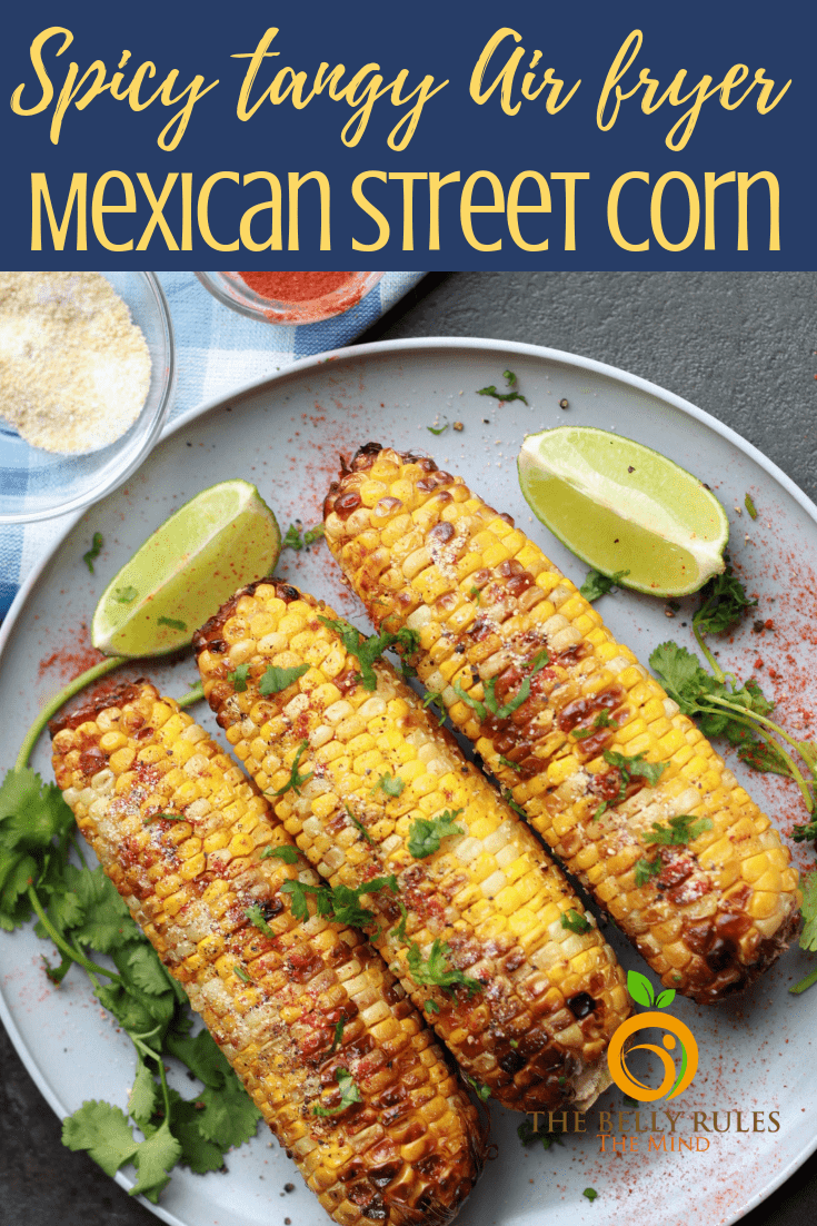 This Air Fryer Mexican Street Corn recipe is a perfect side that can be enjoyed all year round. Packed with spicy tangy flavors but minus all the slathered calories. Easy peasy and ready in just 15 minutes. #mexicanstreetcorn #airfryermexicanstreetcorn #streetcorn #streetcornrecipe #howtomakemexicanstreetcorn #elote #eloterecipe #mexicancornrecipe #airfryerrecipe #cincodemayorecipe #mexicanrecipe #cornrecipe #airfryercorn