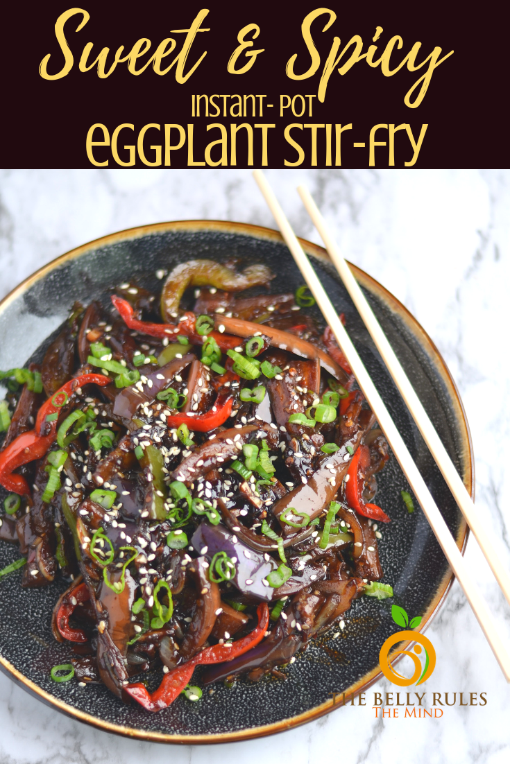 sweet and spicy instant pot eggplant stir fry