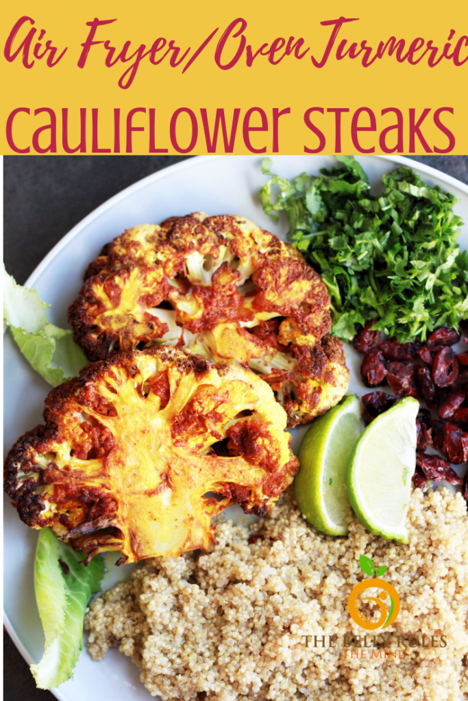 Combine the goodness of cauliflower, turmeric, garlic and an air fryer, you get these delicious Air Fryer Cauliflower Steaks.Super easy and ready in just 15 minutes. These crispy yet tender bites make an excellent plant based entree. Packed with all the flavors and textures, simply yum!!! #cauliflowersteak #cauliflowersteakrecipe #airfryercauliflowersteak #cauliflowerrecipe #airfryerrecipe #vegansteak #vegancauliflowerrecipe #veganairfryer #airfryersteak