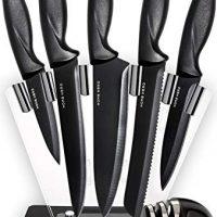 Chef Knife Set Knives Kitchen Set - Kitchen Knives Set Kitchen Knife Set with Stand - Plus Professional Knife Sharpener - 7 Piece Stainless Steel Cutlery Knives Set by HomeHero