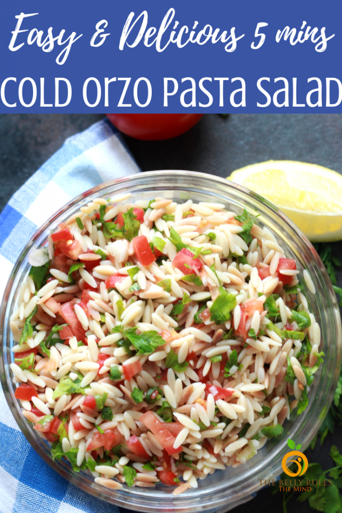 If you are looking to cool down with a refreshing cold pasta salad recipe then this Easy Summer Orzo Salad is your recipe. Made with easily available ingredients and comes together quickly, this is great for summer parties and potlucks because it's a guaranteed crowd pleaser. 5 Minutes. Vegan.  #orzo #orzosalad #orzosaladrecipe #orzopastasalad #pastasaladrecipe #instantpororzo #tbrtm