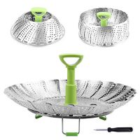 """Steamer Basket Stainless Steel Vegetable Steamer Basket Folding Steamer Insert for Veggie Fish Seafood Cooking, Expandable to Fit Various Size Pot (5.1"""" to 9"""")"""