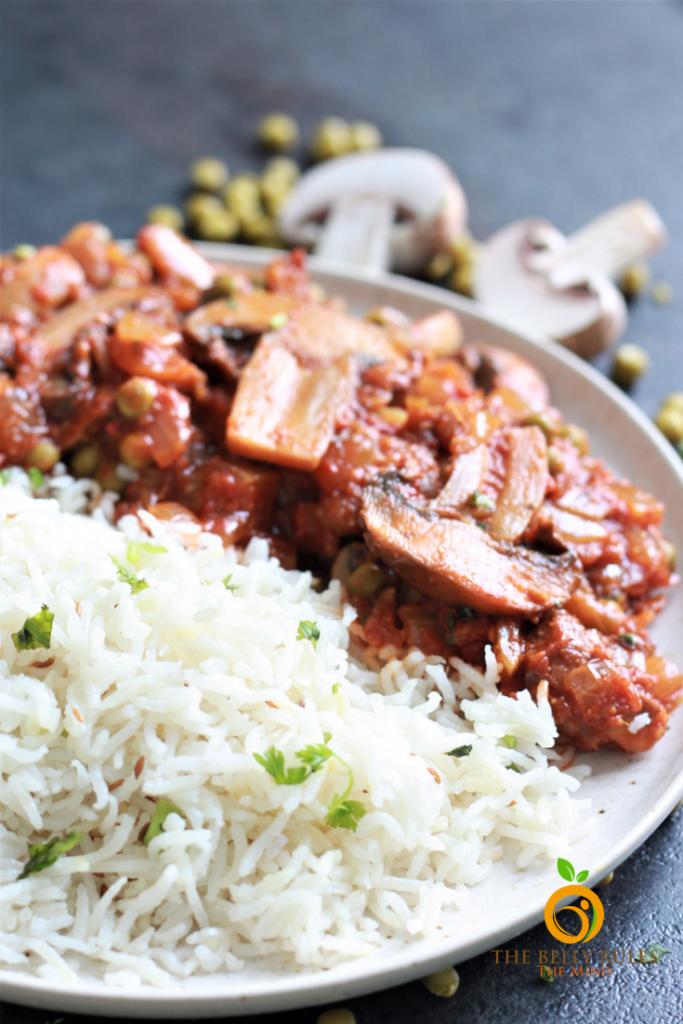 mushroom masala with basmati rice