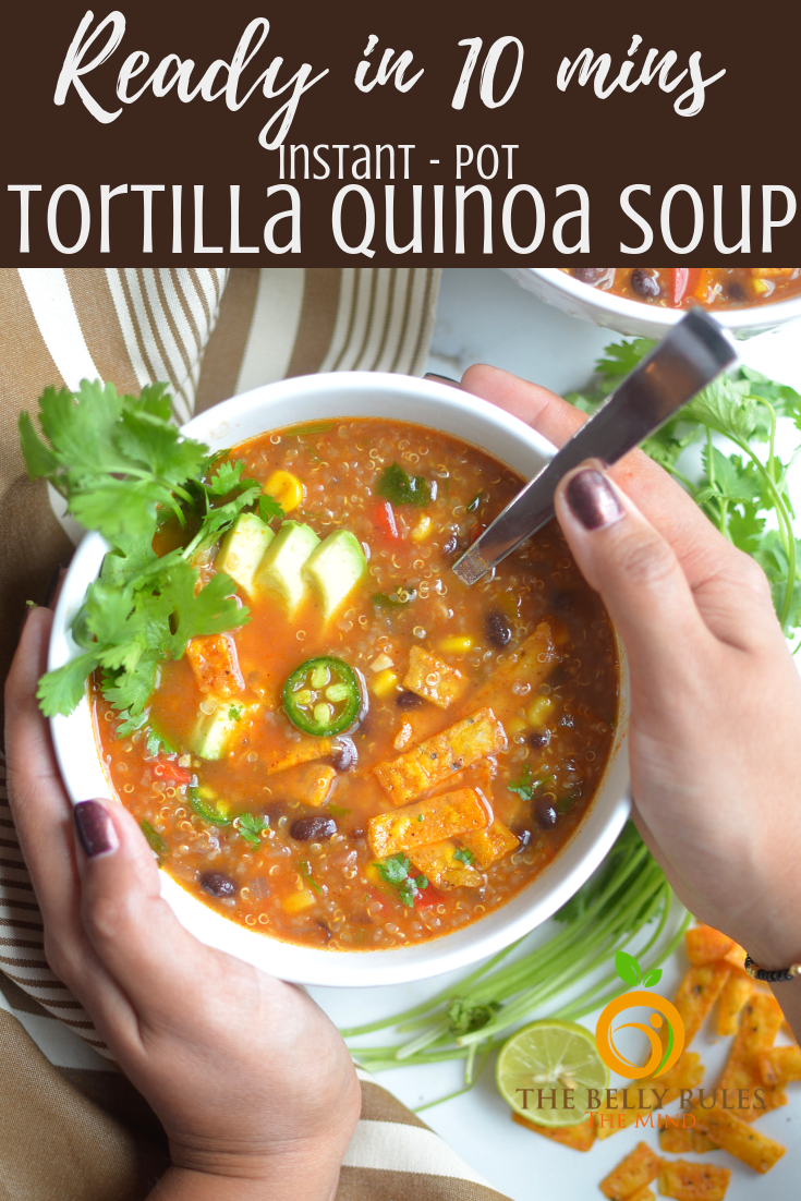 Easy Vegetarian Tortilla Quinoa Soup Recipe   TheBellyRulesTheMind