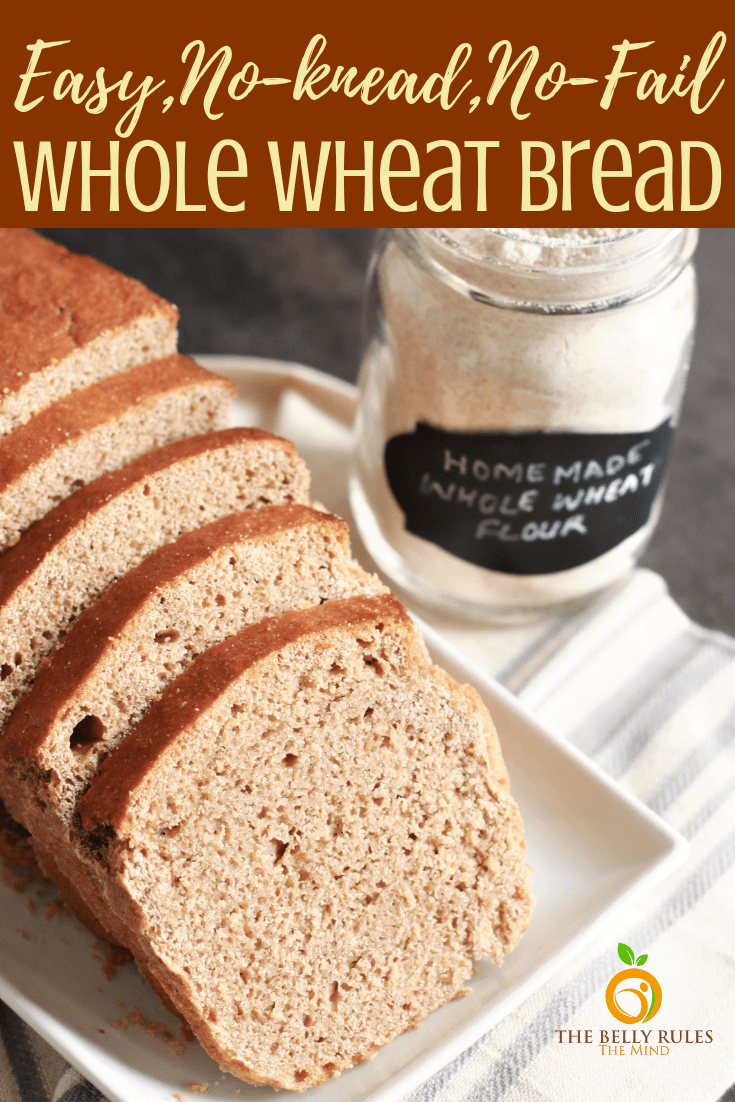 This is your everyday homemade bread - 100% Whole Wheat Bread recipe made with only 5 ingredients. Freshly milled wheat flour, yeast, salt, water and milk. Easy, no-knead, no-fail recipe. Ready in one and a half hour from start to end. You have to bake this, you will never buy bread again. Video Recipe.