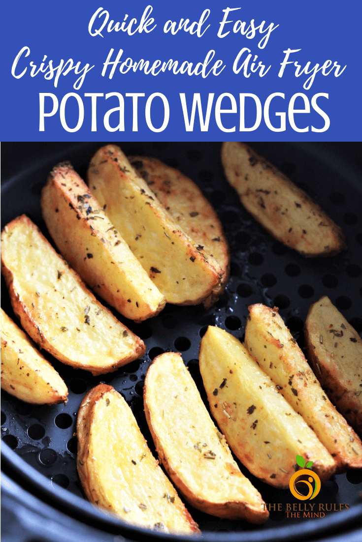 Crispy Air Fryer Homemade Potato Wedges - Seasoned with herbs, these Potato Wedges are perfectly crispy on the outside and soft on the inside. Quick, easy, inexpensive and a healthier alternative to the store bought or deep fried potatoes wedges #potatowedges #potatowedgesrecipe #homemadepotatowedges #airfryerpotatowedges #potatoes #potatorecipe #potatoside #potatosnack #airfryerrecipe #veganpotato #glutenfreepotato #veganairfryer #glutenfreeairfryer