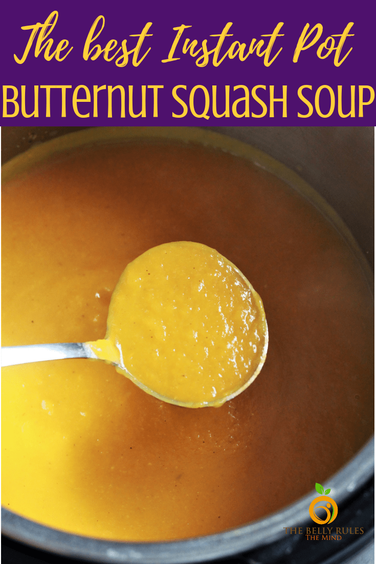 This is by far the best vegan Instant Pot Butternut Squash Soup recipe ever. This dump and stir soup blends the nutty butternut squash and sweet tangy apples with a hint of fall spice, making it celebration worthy. Vegan. Gluten-Free. Dairy-Free. 0 WW Smart Points. A must try this fall! Plus learn how to cut a butternut squash. #butternutsquashsoup #butternutsquashrecipe #instantpotbutternutsquashsoup #butternutsquashapplesoupapple #veganbutternutsquashsoup #bestbutternutsquashsoup #howtomakebutternutsquashsoup