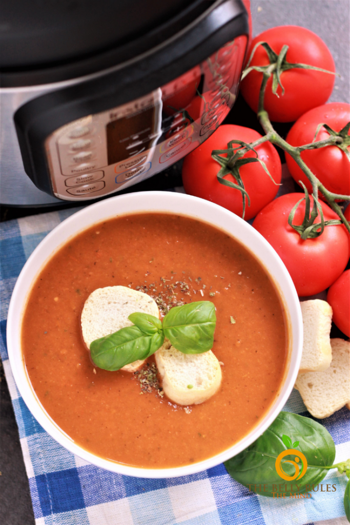 Instant Pot Tomato Basil Soup in a bowl