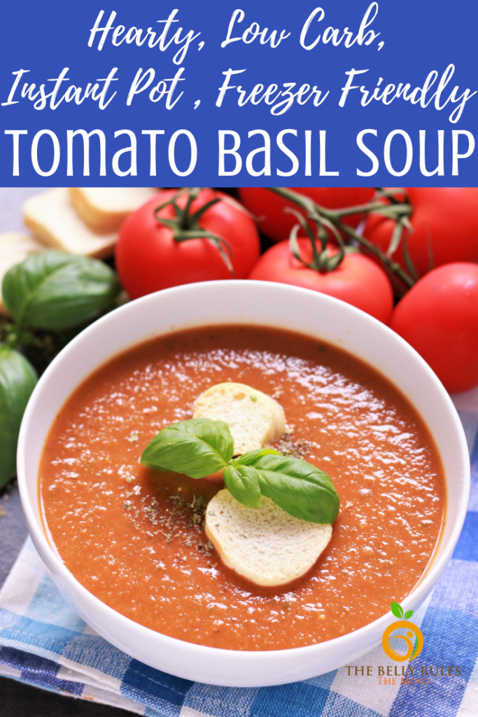 A hearty, delicious Instant Pot Tomato Basil Soup recipe, bursting with flavors of fresh tomatoes, basil and garlic. Naturally thickened & freezer friendly this fall comfort soup is great way to use that harvest of fresh tomatoes. Vegan. Gluten-Free. Dairy-Free. Low-Carb. #tomatobasilsoup #tomatobasilsouprecipe #instantpottomatobasilsoup #instantpottomatosoup #tomatosouprecipe #tomatoesrecipe #instantpotsouprecipe #lowcardsoup #vegansouprecipe #glutenfreesouprecipe