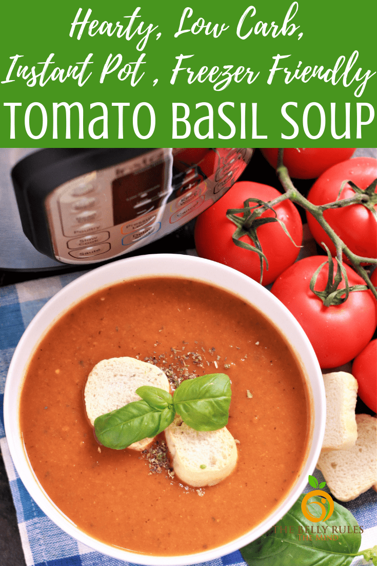 A hearty, delicious Tomato Basil Soup recipe, bursting with fresh flavors of tomatoes, basil and garlic. Naturally thickened & freezer friendly this fall comfort soup is great way to use that harvest of fresh tomatoes. Vegan. Gluten-Free. Dairy-Free. Low-Carb.