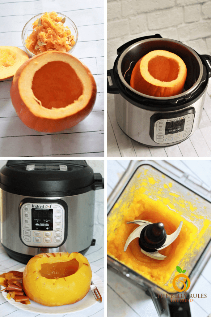 step by step instructions on how to cook pumpkin puree in instant pot or electric pressure cooker
