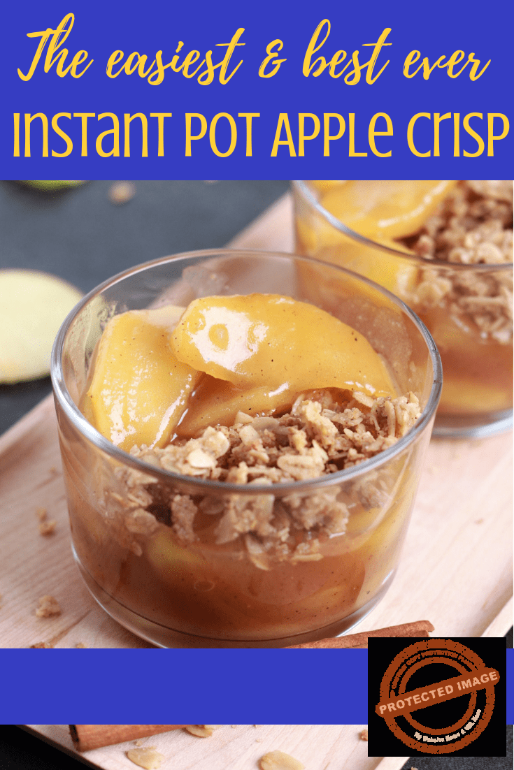 Easy Instant Pot Apple Crisp recipe -  A warm comforting bowl of tender Cinnamon Apples topped with a crispy crunchy gluten free oats, makes it a perfect treat after any meal. It's delicious, irresistible and perfect for all seasons.  Simply prepare the crumble in the Instant Pot and top it over your Instant Pot Cinnamon Apples. Yes that easy. Try it to believe it!!!