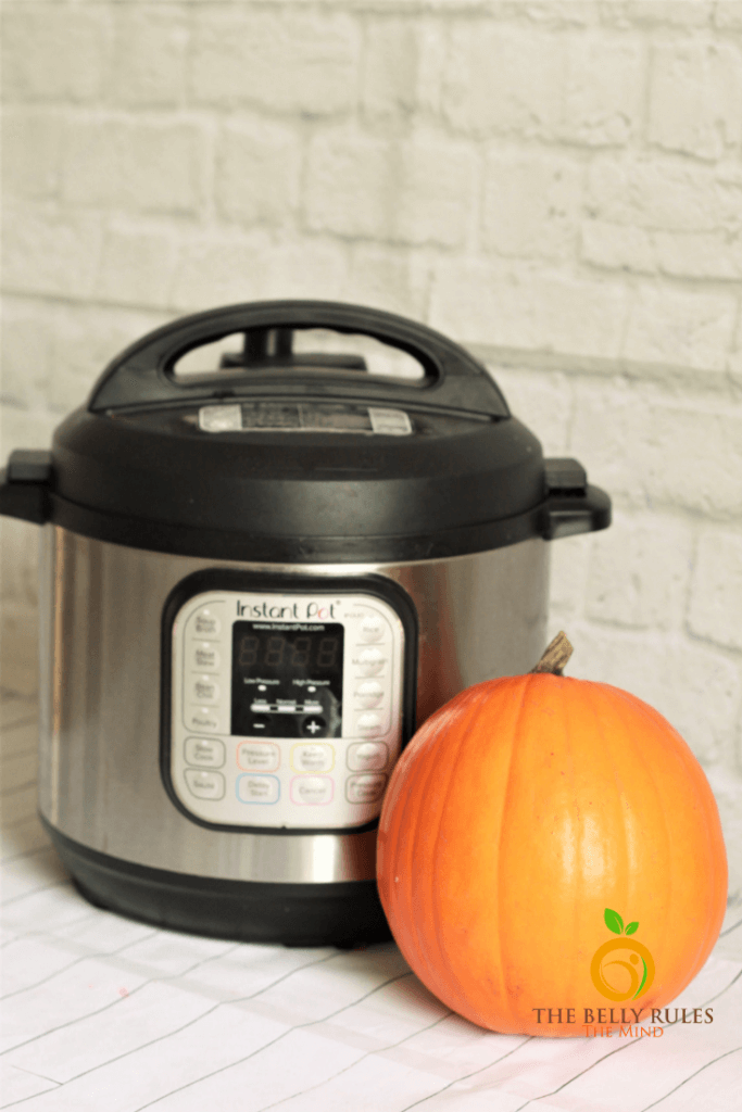 sugar pumpkin next to an instant pot