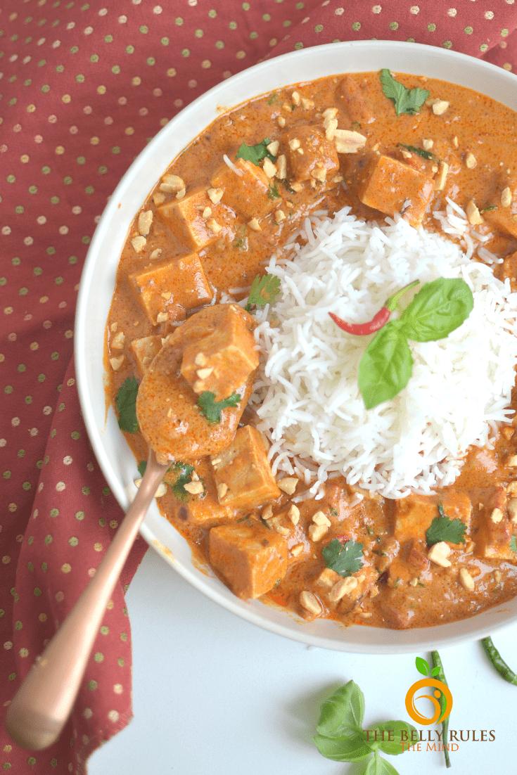 Thai Tofu in peanut curry