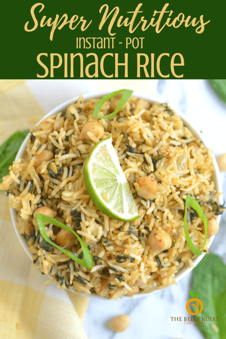 Easy Instant Pot spinach rice is a healthy meal that I love to make for my family for lunch box meals.