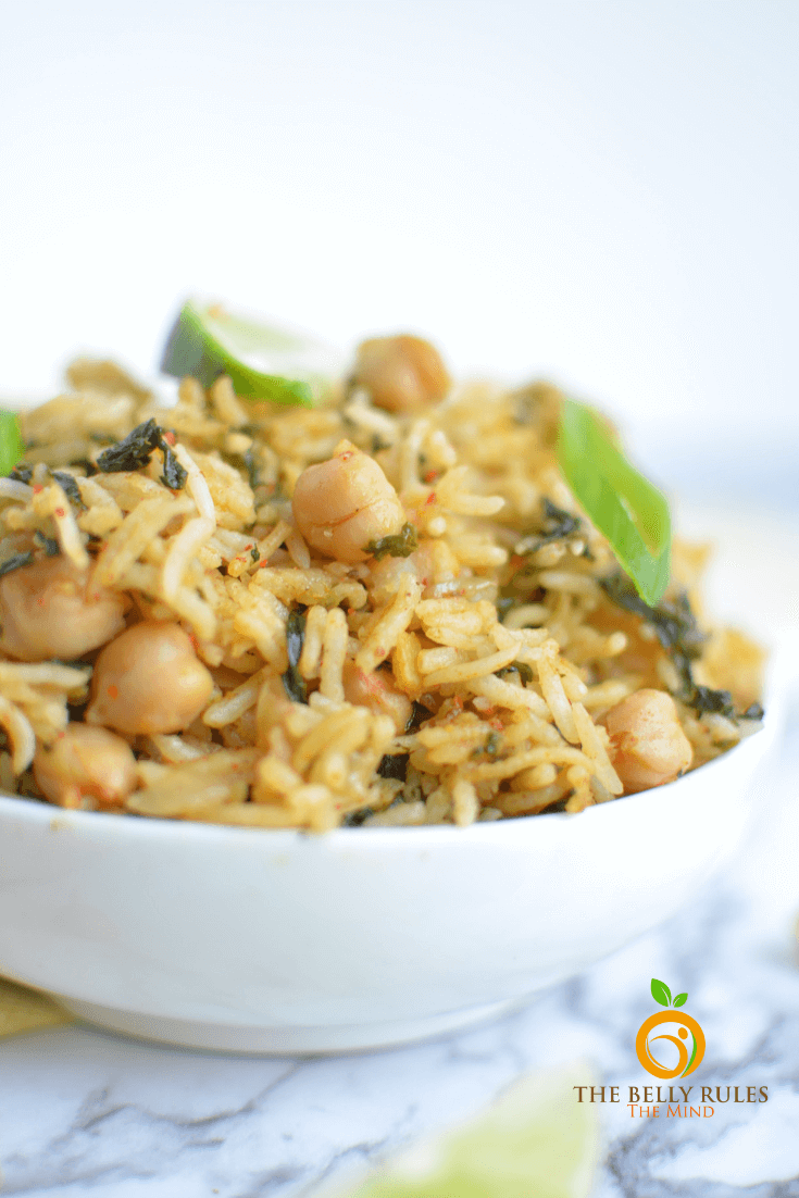 instant pot spinach rice/ Pulao