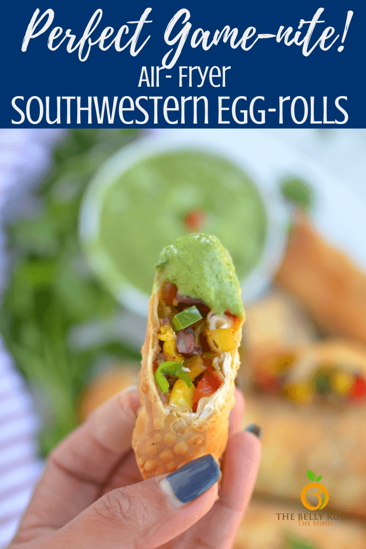 Air fryer Southwest egg rolls are a treat that everyone will want to indulge in. With all the best flavors from a southwestern fare, these egg rolls have a kick and a bite! This vegetarian egg roll recipe is crisp from the air fryer and They're perfect for an afternoon with you pals or game night appetizer or a New York Eve's get together. They'd also accompany a burrito bowl quite nicely too! Is this making you hungry, or is it just me?