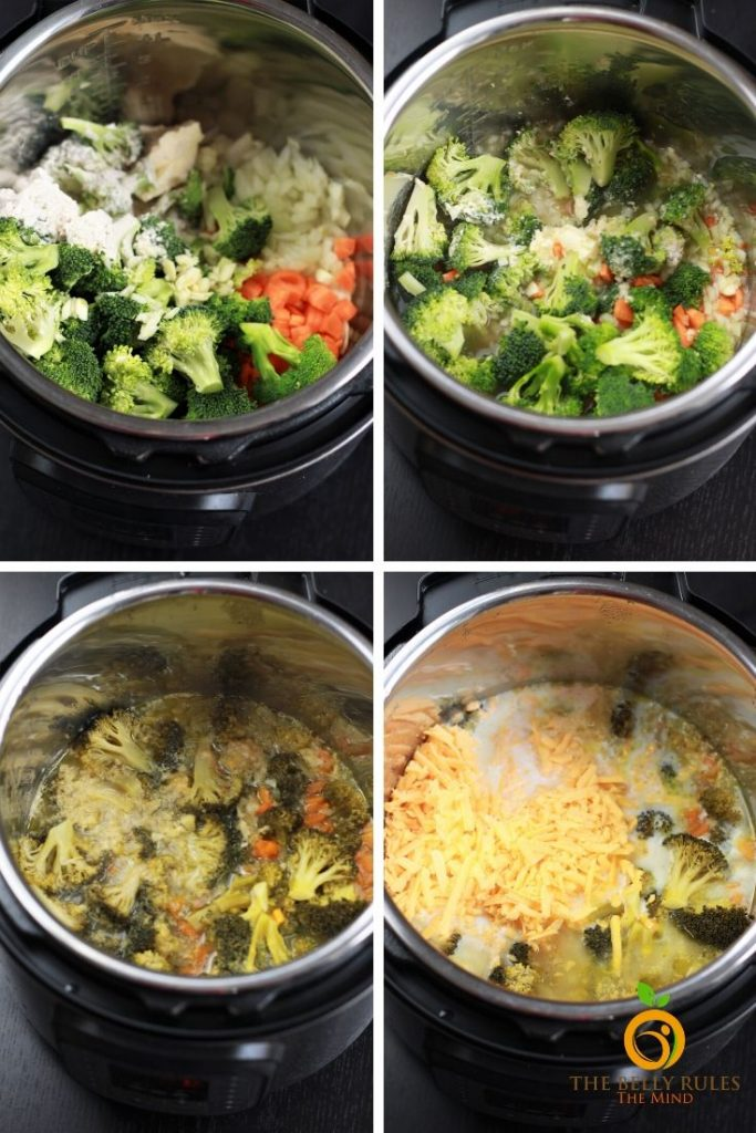 step by step directions to make broccoli cheese soup recipe