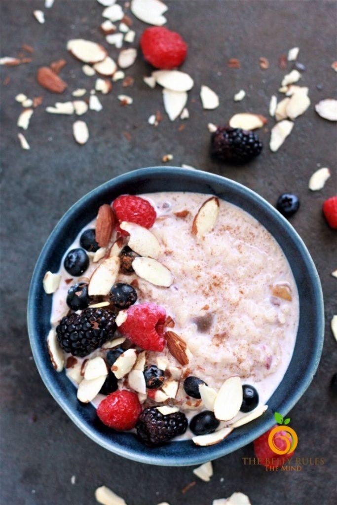 breakfast rice porridge in a bowl