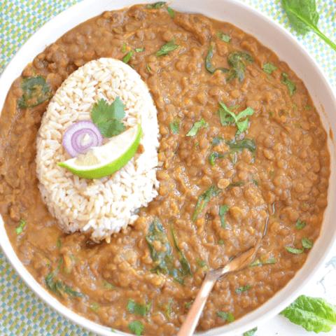instant pot brown lentil curry