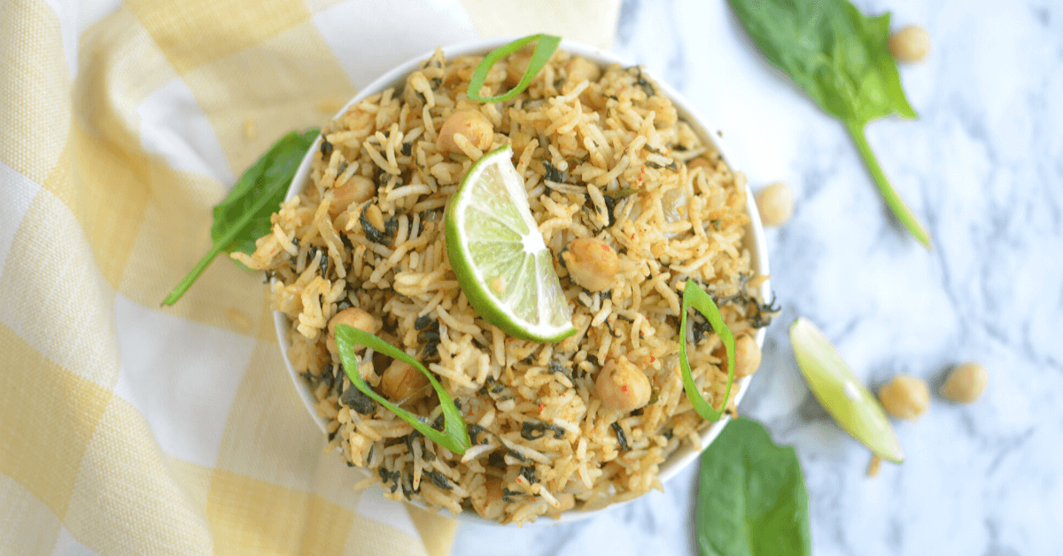 instant pot spinach rice