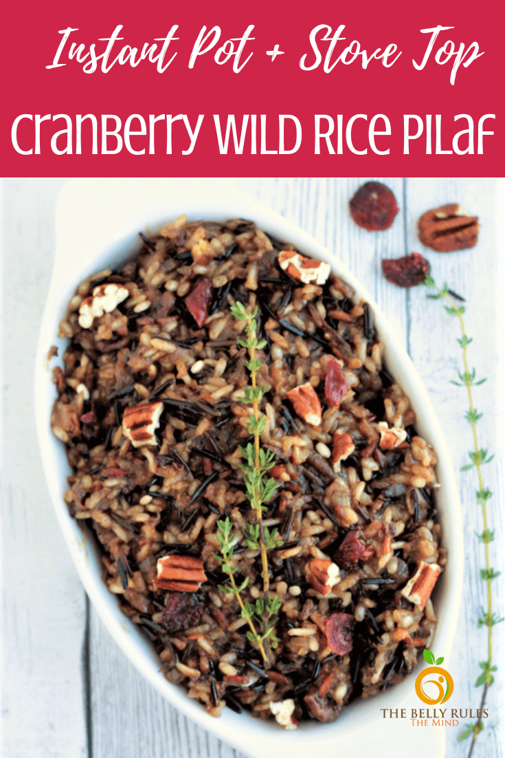 Instant Pot Wild Rice Pilaf, a delicious winter pilaf made with wild rice, cranberries, nuts cooked in herbs, broth and apple juice. A perfect dish infused with so many flavors and textures to go with any meal.  A satisfying rice dish for the winter. Healthy. Vegan. Gluten-Free. Video Recipe.