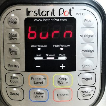 Instant Pot Says Burn