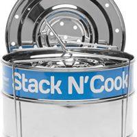 8 Qt Stack N' Cook Stackable Insert Pans with Sling - Instant Pot Accessories for 8 Qt Baking, Casseroles & Lasagna Pans, Food Steamer - Pressure Cooker, Pot in Pot Accessories - Interchangeable Lid