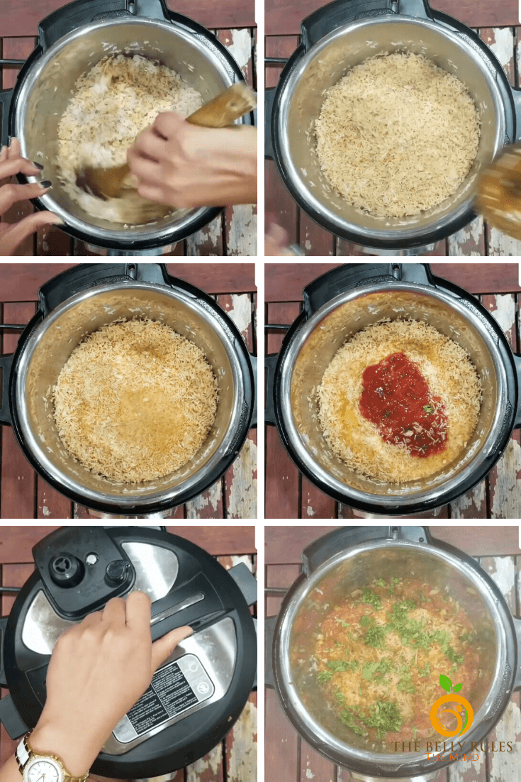 instant pot Spanish rice step by step