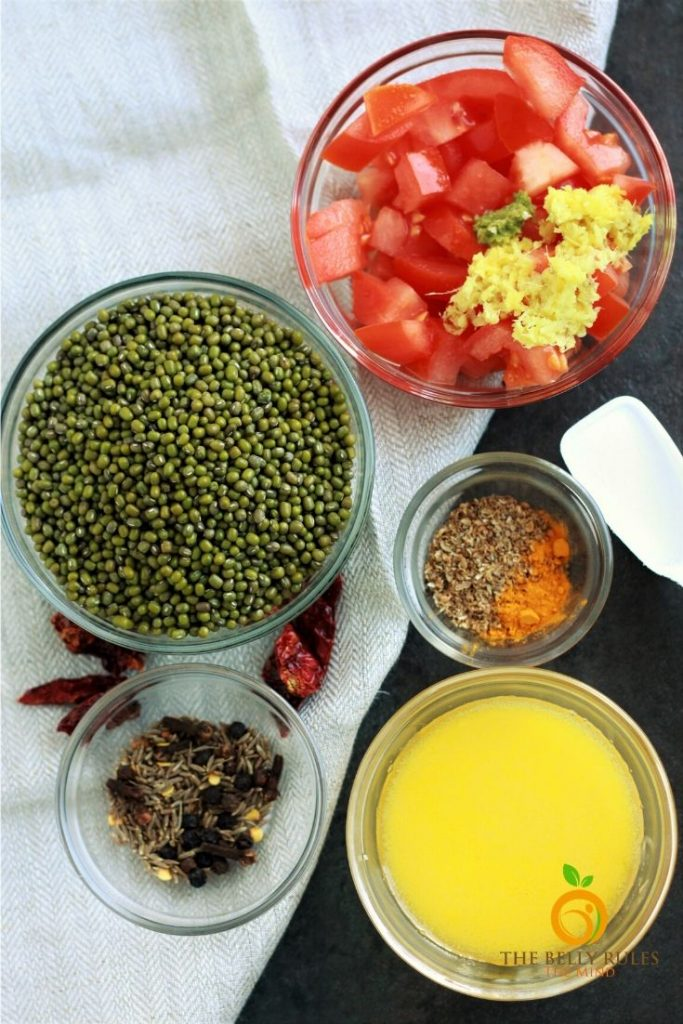 ingredients for green moong dal recipe