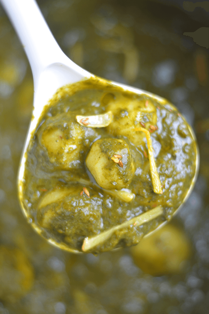 Best Instant Pot Saag Aloo Recipe -(Spinach Potato Curry)