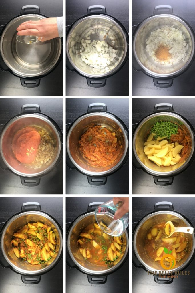 step by step instructions to make aloo matar in instant pot