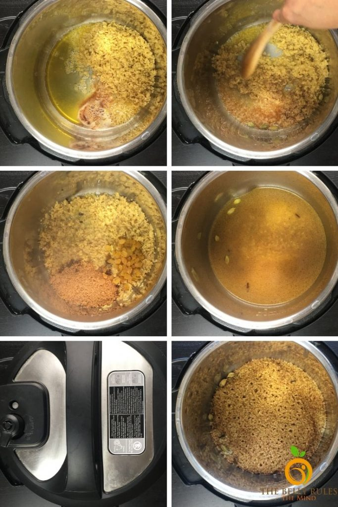 step by step instructions to make lapsi bulgar in instant pot
