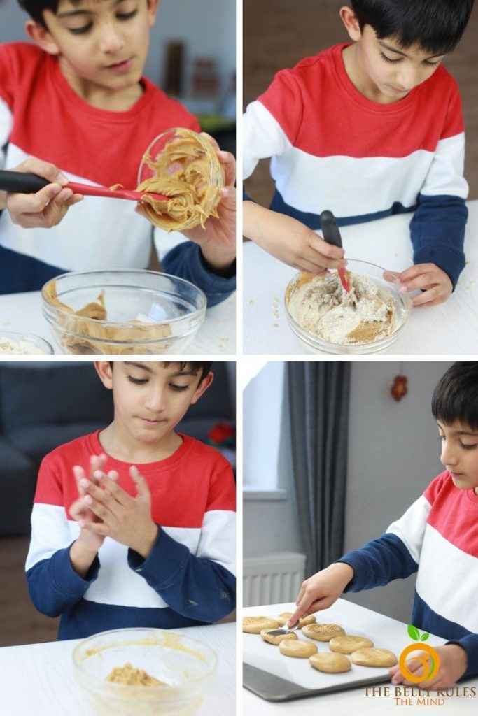 step by step instructions on how to make peanut butter oatmeal cookies