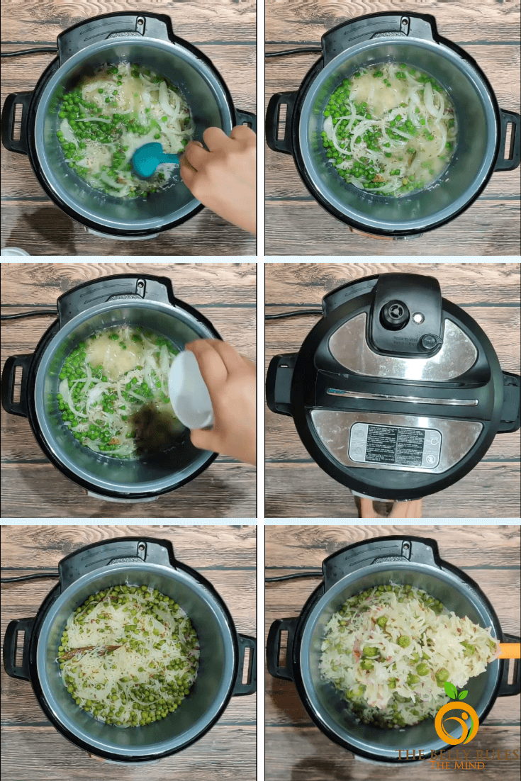 instant pot step by step Peas Pulao- pilaf