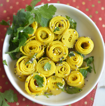 Easy Instant pot Gujarati Khandvi Recipe