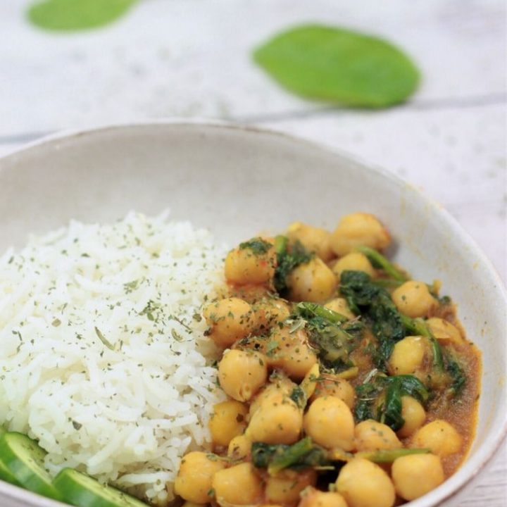 chana saag with basmati rice