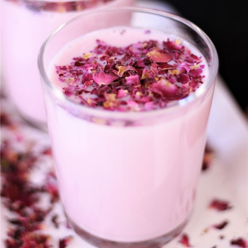 Rose Milk with homemade rose syrup