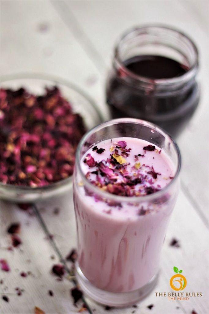 rose milk rose syrup gulkand rose petal jam