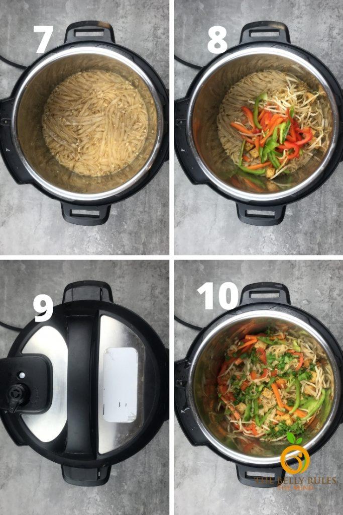 step by step recipe instant pot vegan pad thai noodles