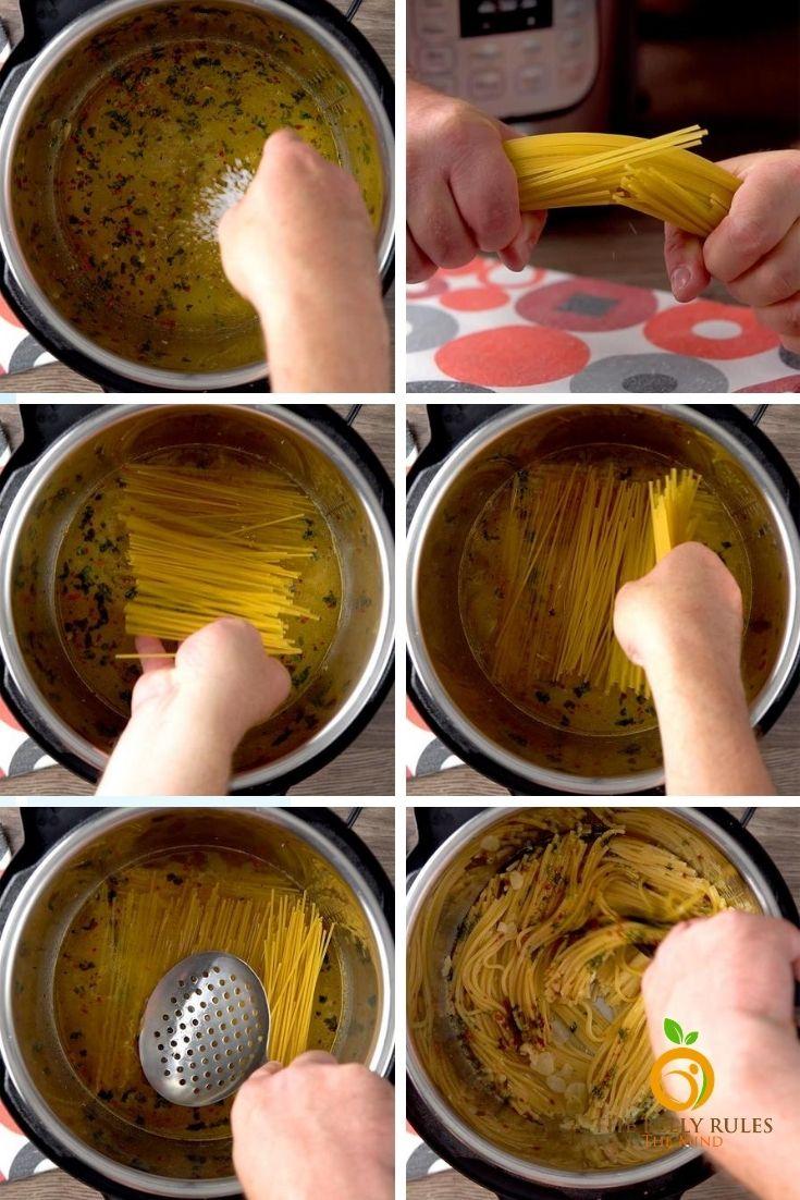 Spaghetti aglio - e -olio /step by step Instant pot Aglio -e - olio