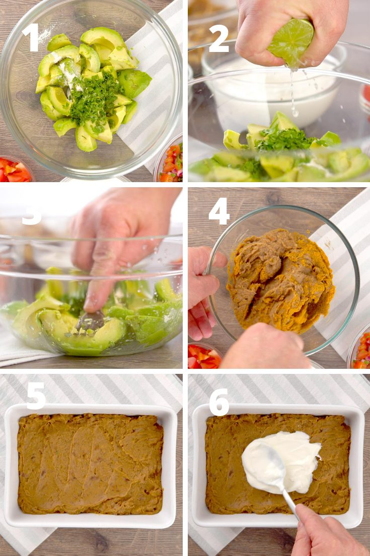 Step by step instructions 7 layer Mexican dip
