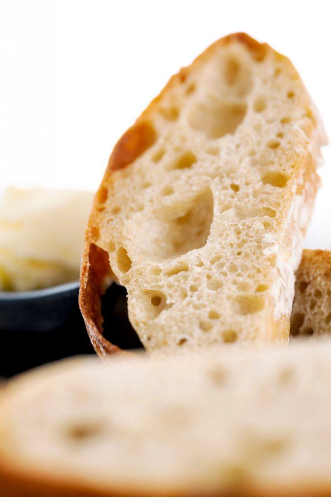 No knead Ciabatta bread slice