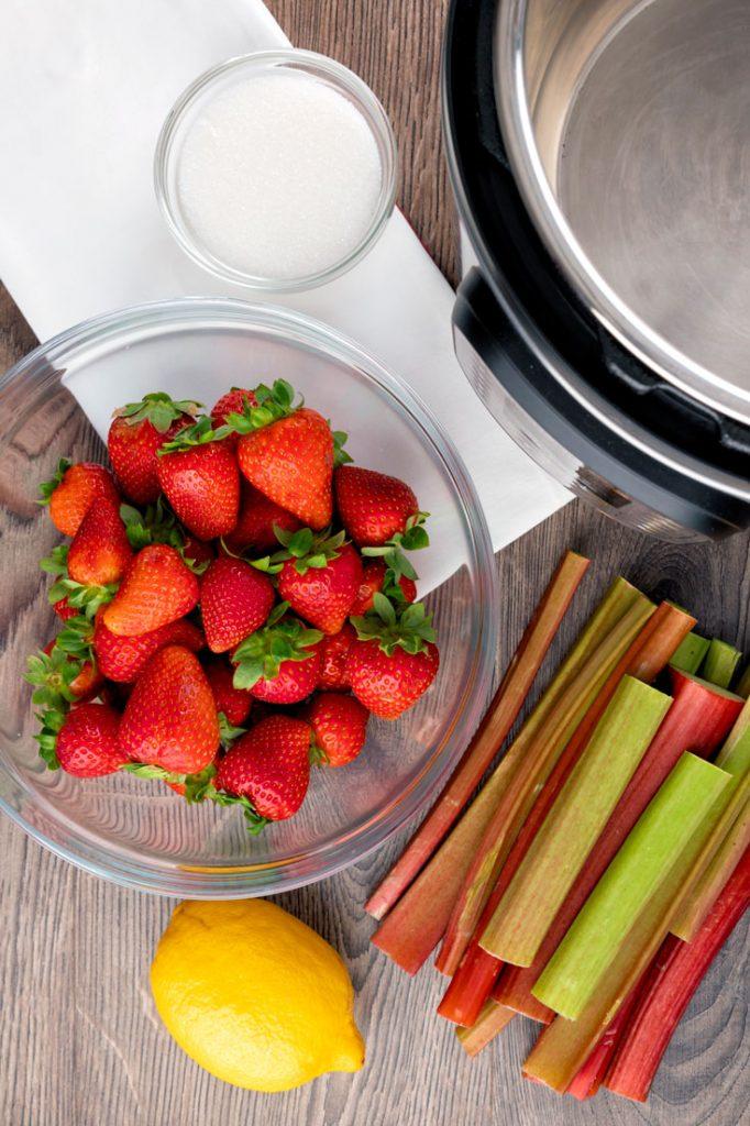 Ingredients to make Strawberry Rhubarb Jam Recipe