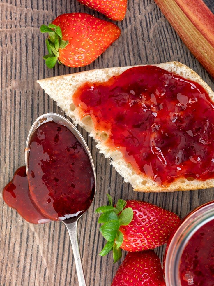 Strawberry Rhubarb Jam on Ciabtatta bread