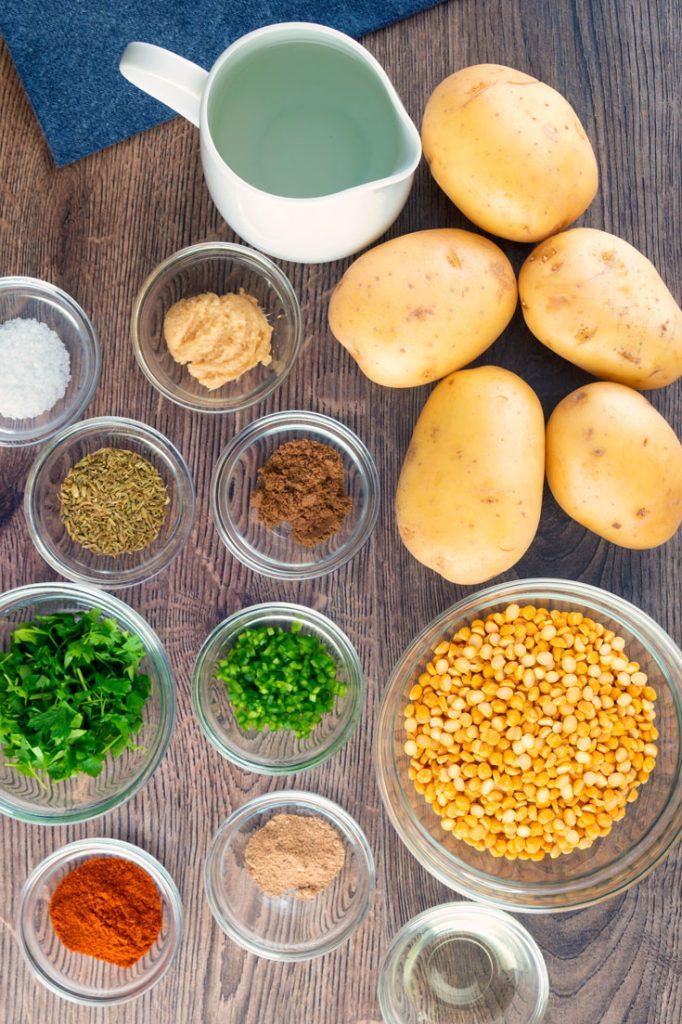 Ingredients to make aloo tikki
